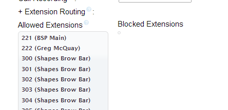 Extension routing