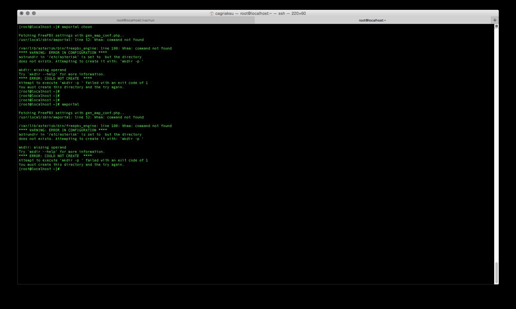 FREEPBX-9210] Whaa on Web Interface/CLI after Installing Module
