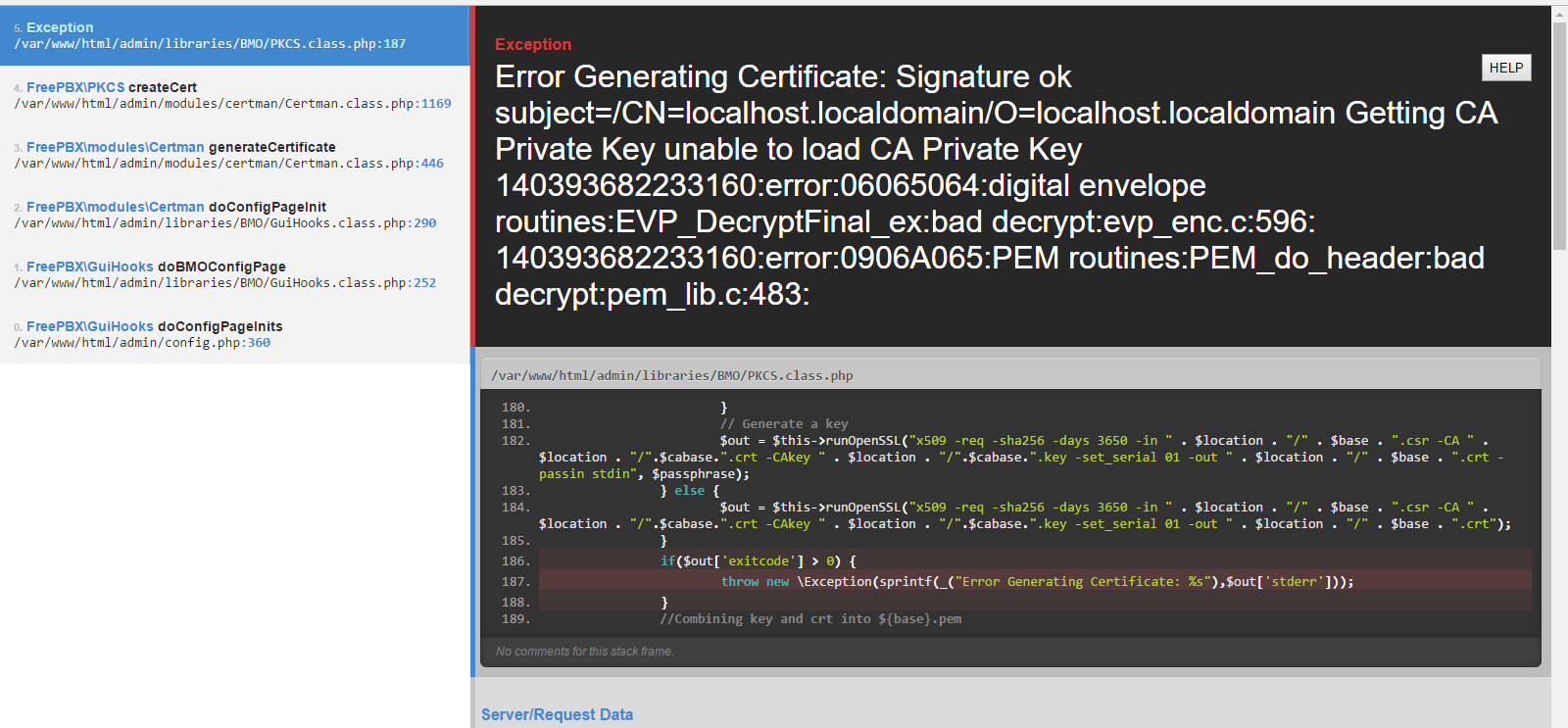 Freepbx 13592 whoops error when creating a self signed certg 1betcityfo Images