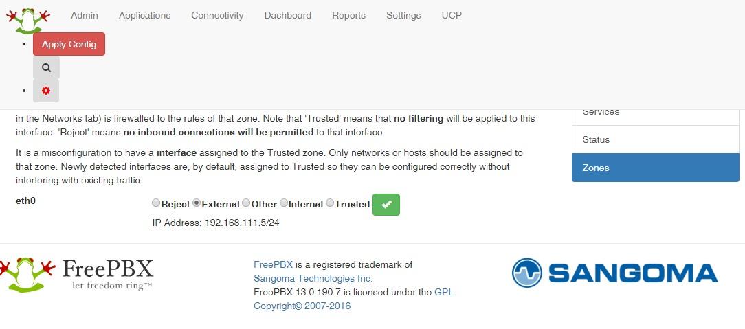 FREEPBX-13815] Firewall resets eth0 to trusted on reboot - Sangoma