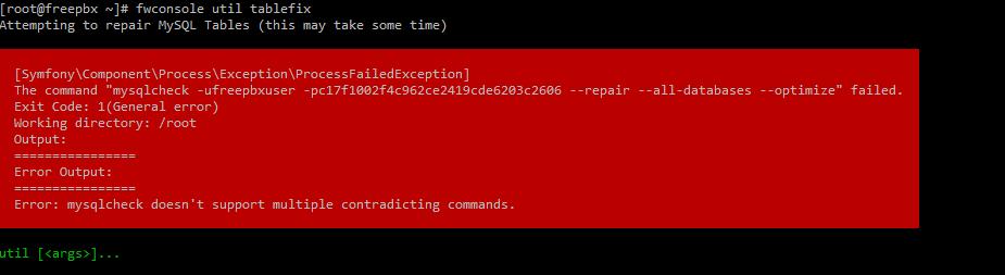 Freepbx Repair Database